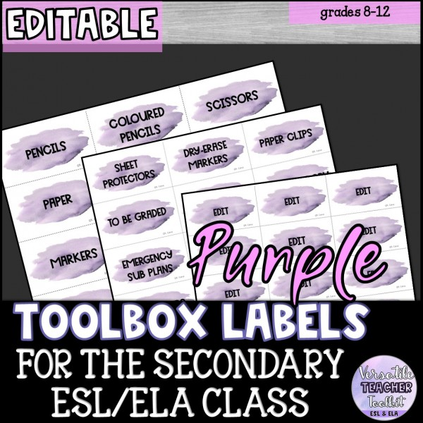 Editable Teacher Toolbox Labels {Watercolour}