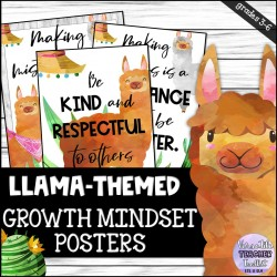 Llama-themed Growth Mindset Posters
