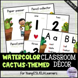 Watercolor Cactus-themed Classroom Decor