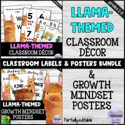 Cute Llama Classroom Decor Set