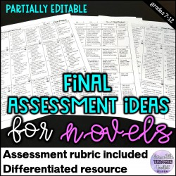Differentiated Final Assessment Ideas for Novels