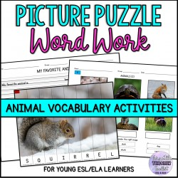 Animal Picture Puzzle & Writing Activities
