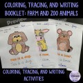 Animals Coloring, Tracing, Writing Booklet