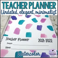 Undated Watercolor Teacher Planner