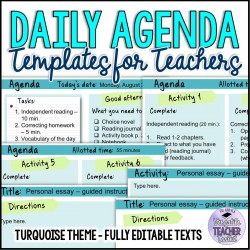 Daily Agenda Template Turquoise Theme