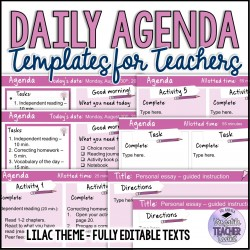 Daily Agenda Template Lilac Theme