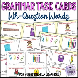 WH Question Words Task Cards for Elementary ESL