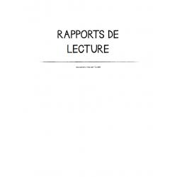 RAPPORTS DE LECTURE