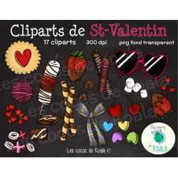 Cliparts de Saint-Valentin style doodle