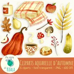 Ensemble de cliparts - Aquarelle d'automne