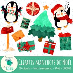 Ensemble de cliparts - manchots de Noël