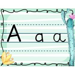 Alphabet cursif - Menthe et cactus