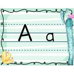 Alphabet  script - menthe et cactus