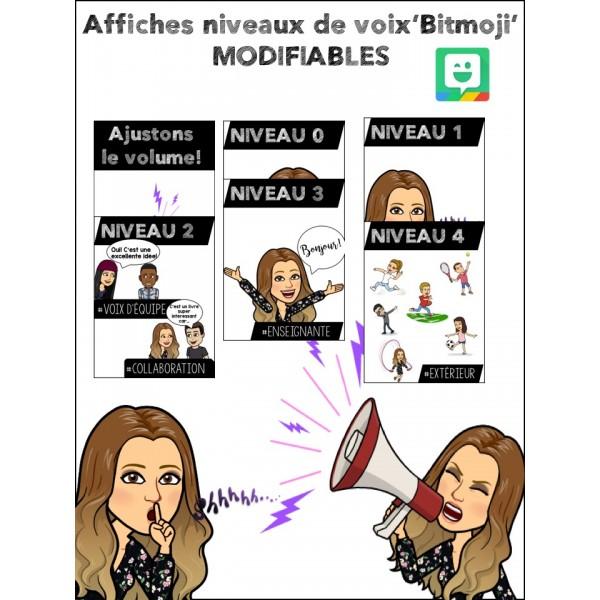 Affiches-Niveaux de voix-Bitmoji-100% MODIFIABLES