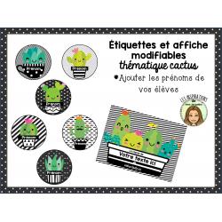 Étiquettes et affiche modifiables thème cactus