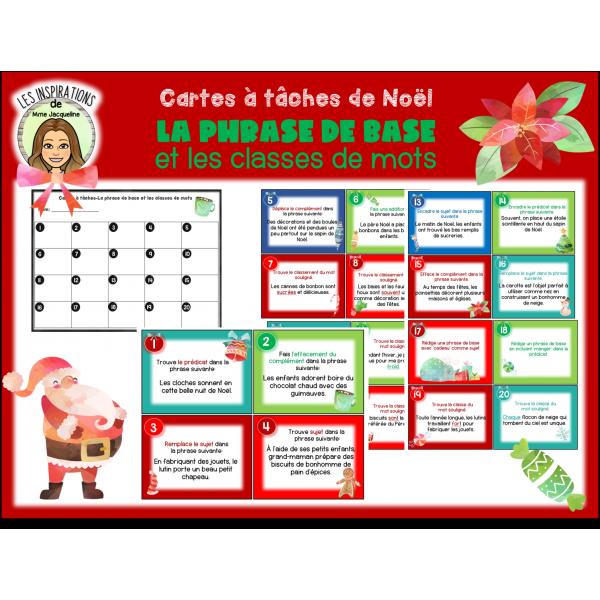 Cartes à tâches de Noël-La phrase de base