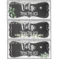 Étiquettes modifiable -tableau noir et feuillage