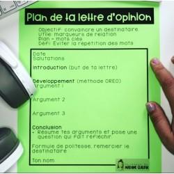 Plan de la lettre d'opinion