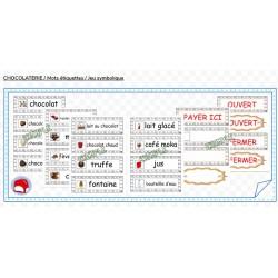 CHOCOLATERIE / Mots étiquettes / Jeu symbolique