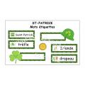 ST-PATRICK / Mots  étiquettes
