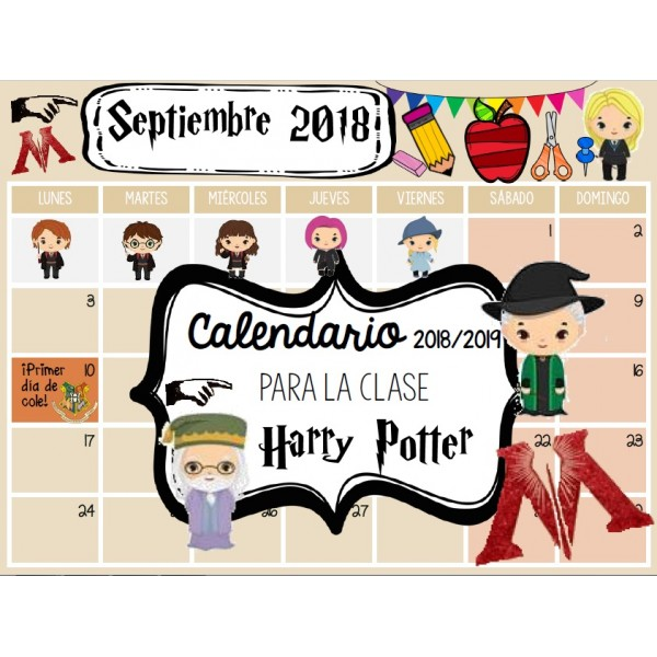 Calendario mensual EDITABLE Harry Potter