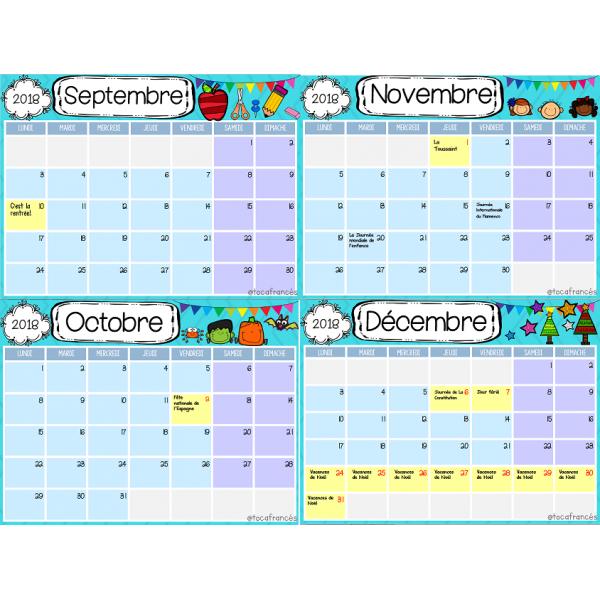 MODIFIABLE Calendrier pour la classe/Calendar