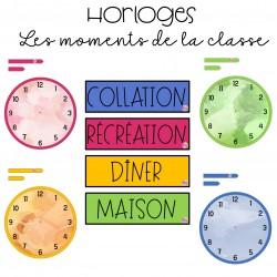 Horloges les moments de la classe