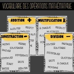 Vocabulaire opérations mathématique
