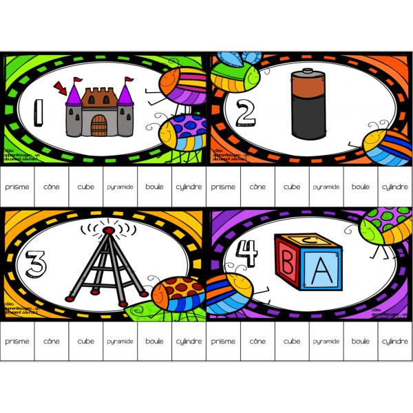 cartes à tâches nommer les solides