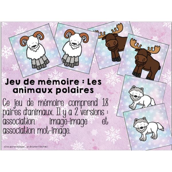 Atelier : jeu de mémoire les animaux polaires
