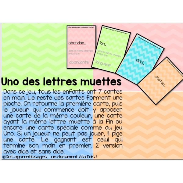 Atelier : uno des lettres muettes