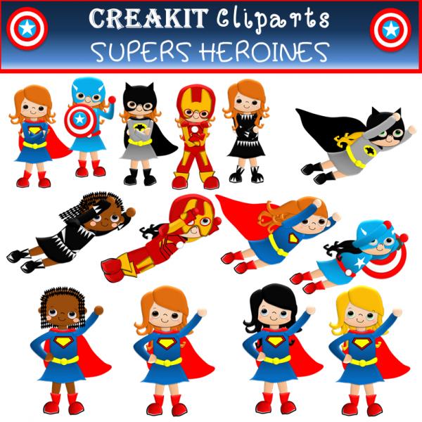 CréaKit Cliparts SUPERS HEROÏNES couleur