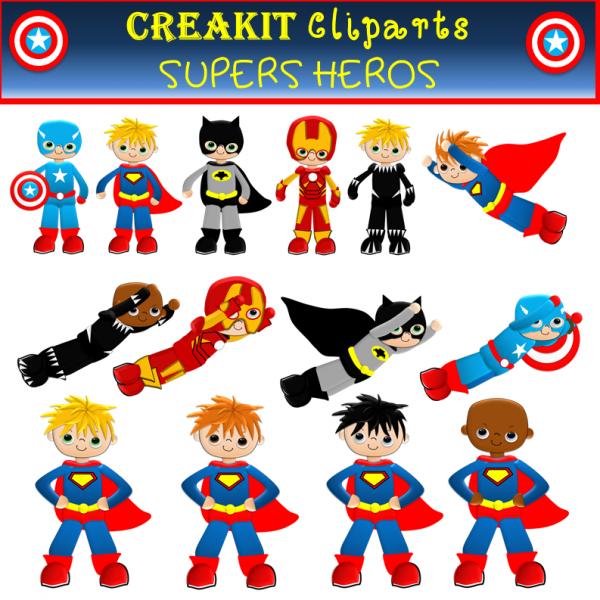CréaKit Cliparts SUPERS HEROS couleur
