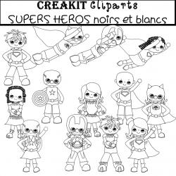 CréaKit CLIPARTS SUPERS HEROS noirs et blancs