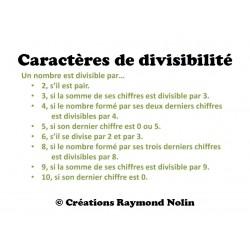 Caractères de divisibilité