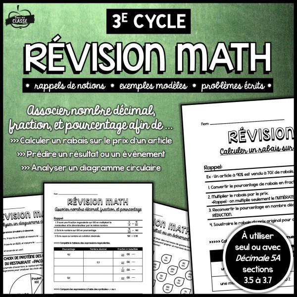 Révision: Fractions, pourcentages, nbres décimaux