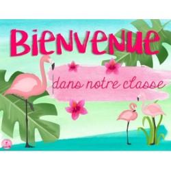 Affiche de porte flamant rose