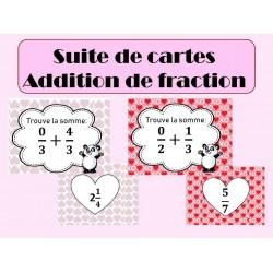 Addition de fractions - Carte qui mène à l'autre.