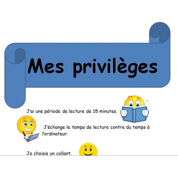 Affiche liste privilèges