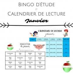 Bingo d'étude + Calendrier de lecture (Janvier)