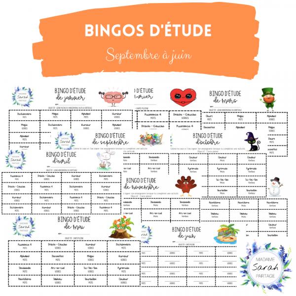 Bingos d'étude - Septembre à juin
