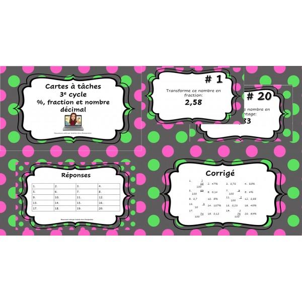 Cartes à tâches: %, fraction et nombre décimal
