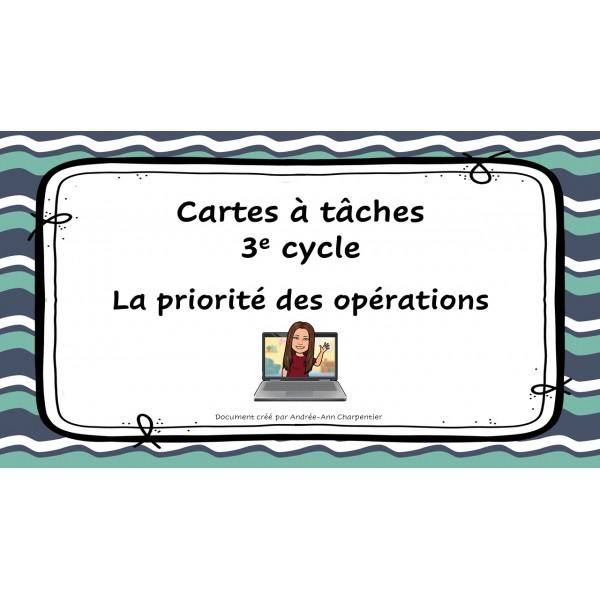 Cartes à tâches: La priorité des opérations
