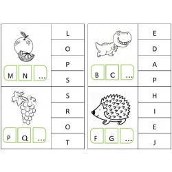 Cartes à pinces - ordre alphabétique