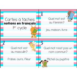 Cartes à tâches notions français