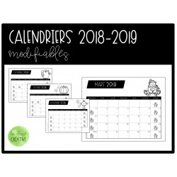 Calendriers modifiables 2018-2019