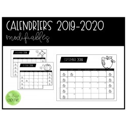 Calendriers modifiables 2019-2020