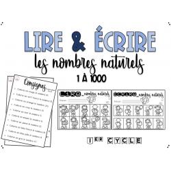 Lire & écrire des nombres naturels 1 à 1000