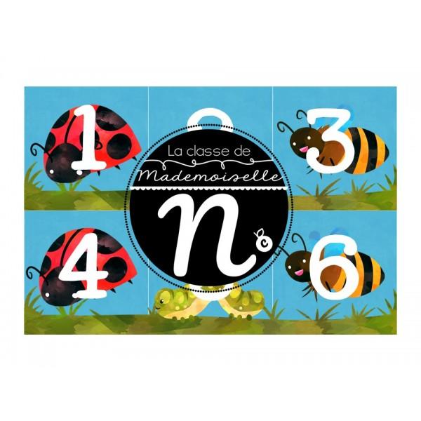 Nombres pour calendrier insectes 2 côtés