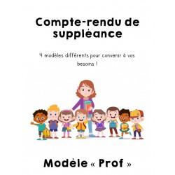 Compte-rendu de suppléance -  4 modèles prof